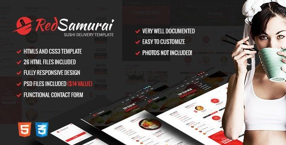 Red Samurai HTML5 and CSS3 Responsive Template Free