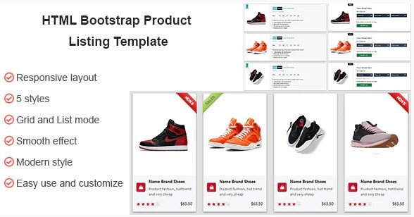 HTML CSS Product Listing Template Nulled