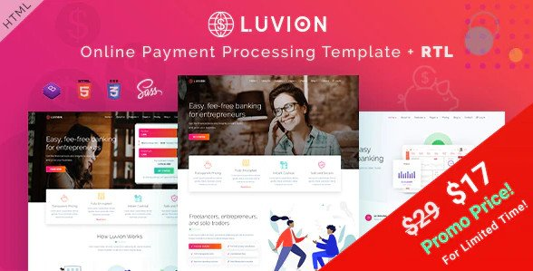 Luvion - Online Banking & Payment Processing HTML Template Nulled
