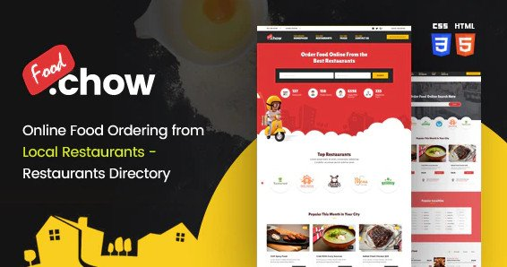 FoodChow - A Food Ordering or Hotel Directory HTML Template Free