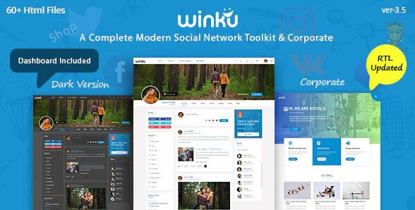 Winku - Social Network Toolkit & Corporate Responsive Template Free