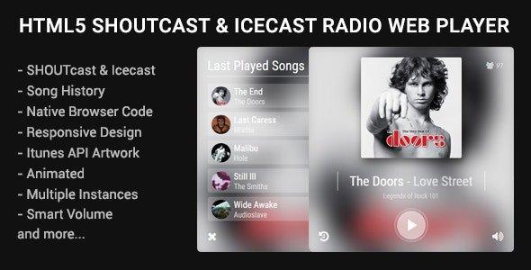 HTML5 Shoutcast & Icecast Radio Web Player Nulled