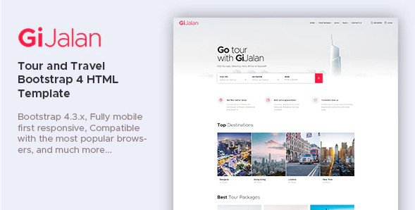 GiJalan - Tour and Travel Bootstrap 4 HTML Template RIP (Nulled)