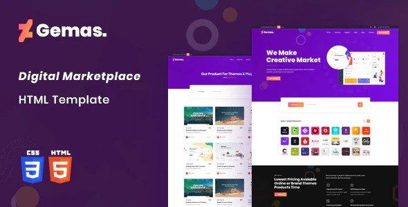 Gemas - Multi-Vendor Digital Marketplace HTML5 Template RIP