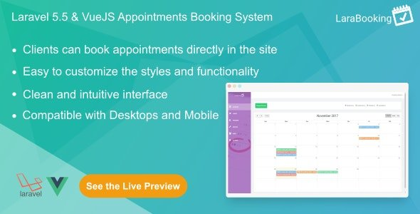 LaraBooking - Laravel Appointments Booking System Nulled