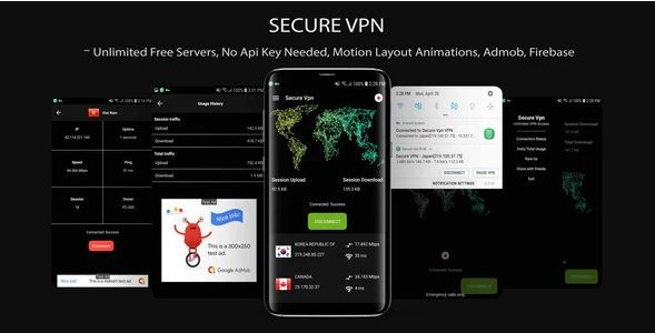 Secure VPN (Unlimted Free Servers + Admob + Motion Layout) v1.0
