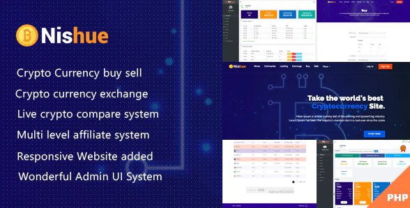 Nishue - CryptoCurrency Buy Sell Exchange and Lending with MLM System | Live Crypto Compare v3.8