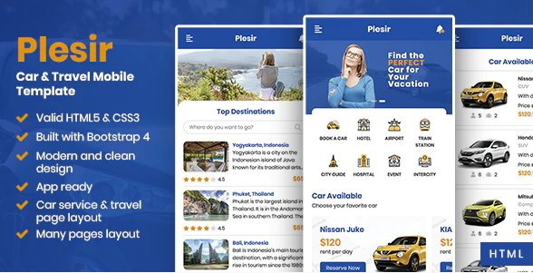 Car & Travel Mobile HTML Template