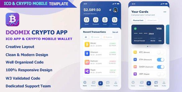 Doomix - ICO App & Crypto Wallet Mobile Template