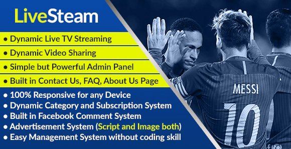 LiveStream - Online Video and Live Streaming Management System v1.0