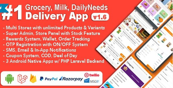 Grocery and Vegetable Delivery Android App with Admin Panel   Multi-Store with 3 Apps v1.6.4