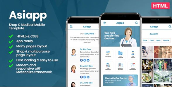 Asiapp - Shop & Medical Mobile HTML Template