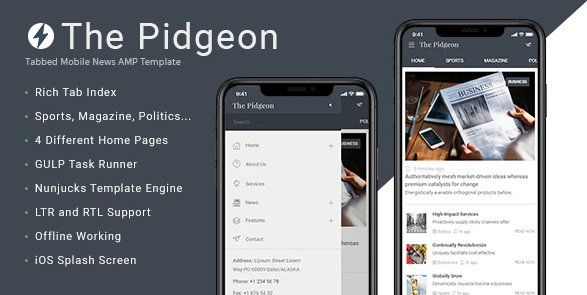 ThePidgeon - Tabbed Mobile News html Template