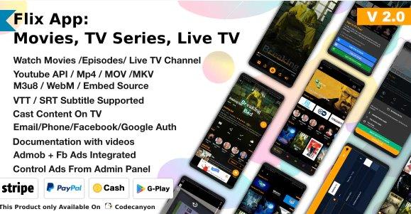 Flix App Movies - TV Series - Live TV Channels - TV Cast v2.2