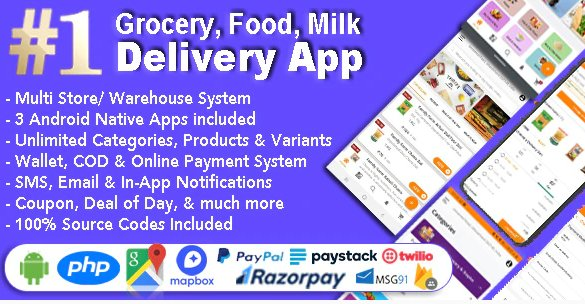 Grocery and Vegetable Delivery Android App with Admin Panel   Multi-Store with 3 Apps v1.6.7