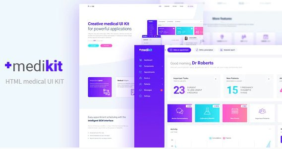 Medikit - Medical UI HTML Kit - Dashboard and Landing Page