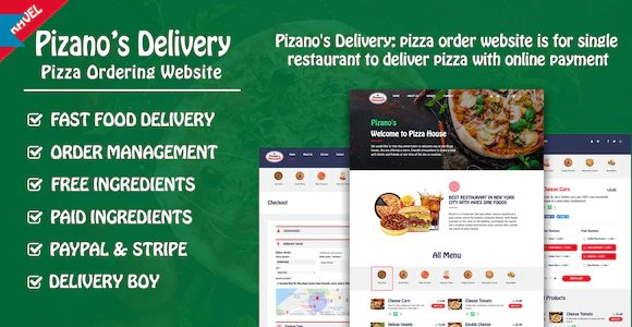 Pizano's Delivery: Unlimited pizza order website v1.0 Nulled